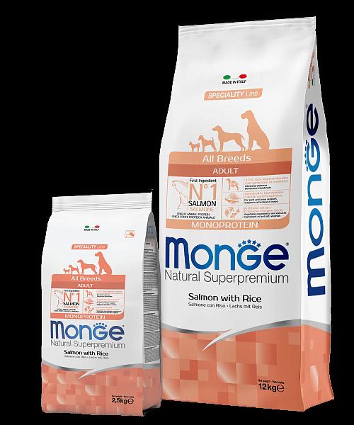 Monge Dog Speciality Line All Breeds ADULT SALMONE AND RICE купить в дискаунтере товаров для животных Крокодильчик в Москве