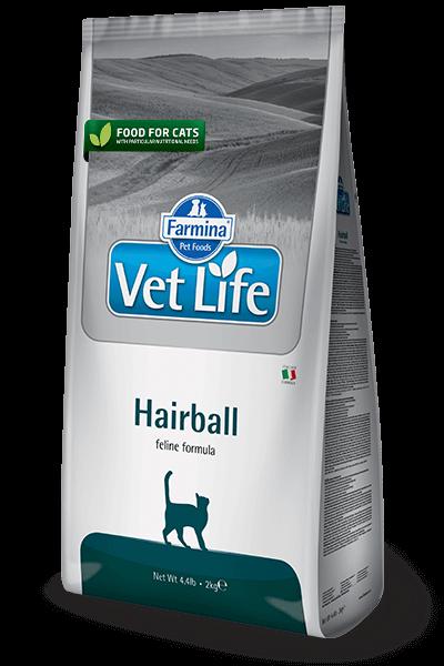 Farmina Vet Life Cat Hairball полнорационное питание для взрослых кошек способствующее выведению комочков шерсти из кишечника купить в дискаунтере товаров для животных Крокодильчик
