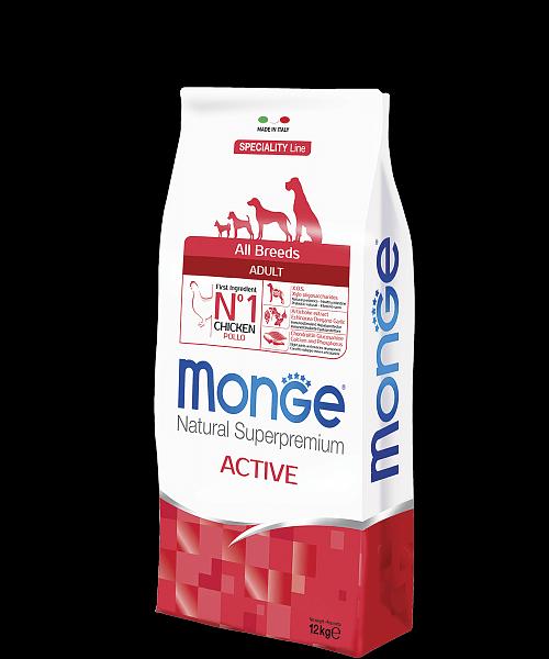 Monge Dog Speciality Line All Breeds ADULT ACTIVE CHICKEN купить в дискаунтере товаров для животных Крокодильчик в Москве
