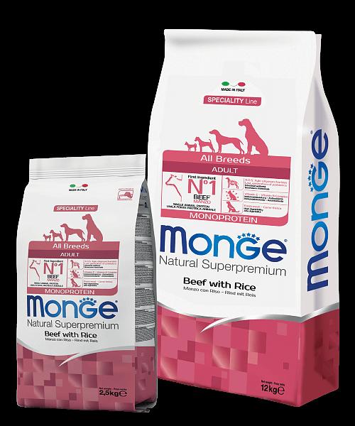 Monge Dog Speciality Line All Breeds ADULT MONOPROTEIN BEEF & RICE купить в дискаунтере товаров для животных Крокодильчик в Москве