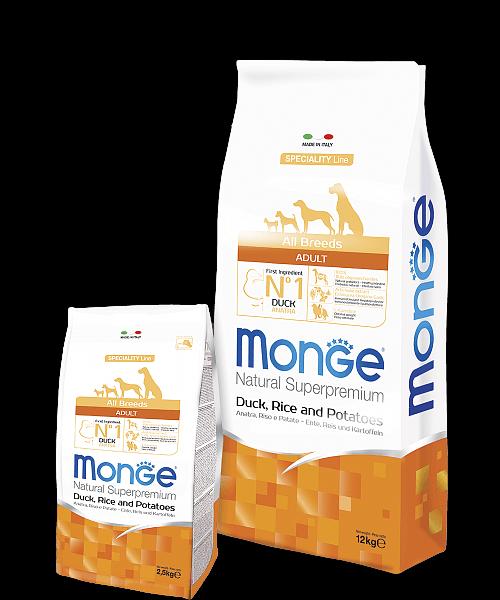 Monge Dog Speciality Line All Breeds ADULT DUCK, RICE & POTATOES купить в дискаунтере товаров для животных Крокодильчик в Москве
