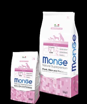 Monge Dog Speciality Line All Breeds ADULT PORK, RICE & POTATOES купить в дискаунтере товаров для животных Крокодильчик в Москве