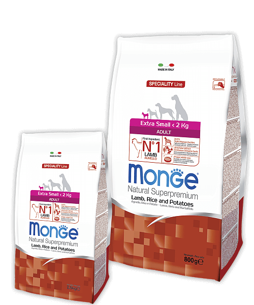 Monge Dog Speciality Line Extra Small Adult Lamb, Rice and Potatoes купить в дискаунтере товаров для животных Крокодильчик в Москве