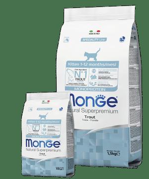 Monge Cat Monoprotein Kitten Trout сухой корм с форелью для котят купить в дискаунтере товаров для животных Крокодильчик