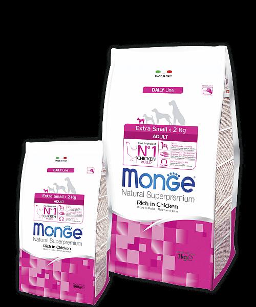 Monge Dog Extra Small корм для взрослых собак миниатюрных пород с курицей купить в дискаунтере товаров для животных Крокодильчик