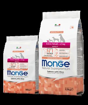 Monge Dog Speciality Line Extra Small Adult Salmone and Rice купить в дискаунтере товаров для животных Крокодильчик в Москве