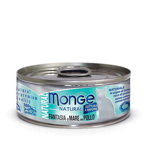 Monge Cat Natural FANTASIA di MARE con POLLO консервы для кошек с морепродуктами и курицей, 80 г купить в дискаунтере товаров для животных Крокодильчик
