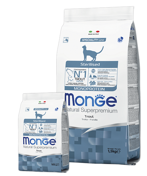 Monge Monoprotein Sterilised Trout Cat сухой корм с форелью для стерилизованных кошек купить в дискаунтере товаров для животных Крокодильчик