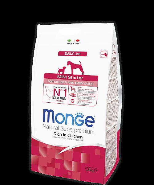 Monge Dog Mini Starter for Mother and baby корм для щенков мелких пород (с 2-х недель), беременных и кормящих собак купить в дискаунтере товаров для животных Крокодильчик