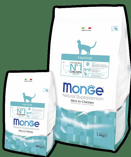 Monge Cat Superpremium Hairball корм для выведения шерсти из желудка купить в дискаунтере товаров для животных Крокодильчик