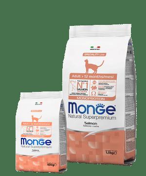 Monge Monoprotein Salmon Adult Cat сухой корм с лососем для взрослых кошек купить в дискаунтере товаров для животных Крокодильчик