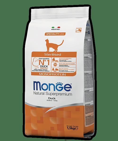 Monge Cat Monoprotein Duck сухой корм с уткой для стерилизованных кошек купить в дискаунтере товаров для животных Крокодильчик