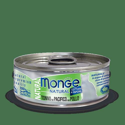 Monge Cat Natural TONNO del PACIFICO con POLLO консервы для кошек с тунцом и курицей, 80 г купить в дискаунтере товаров для животных Крокодильчик