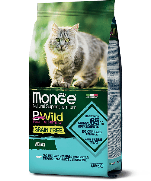 Monge BWild Cat Merluzzo сухой корм из трески, картофеля и чечевицы для взрослых кошек, 1,5 кг. купить в дискаунтере товаров для животных Крокодильчик