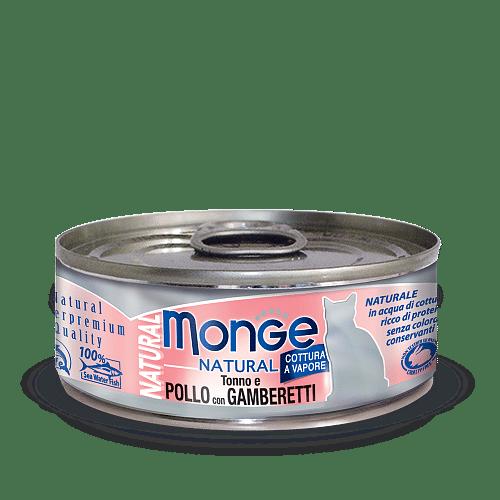 Monge Cat Natural POLLO con GAMBERETTI консервы для кошек с тунцом, курицей и креветками, 80 г купить в дискаунтере товаров для животных Крокодильчик
