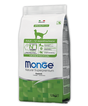 Monge Cat Monoprotein Rabbit сухой корм с кроликом для кошек купить в дискаунтере товаров для животных Крокодильчик