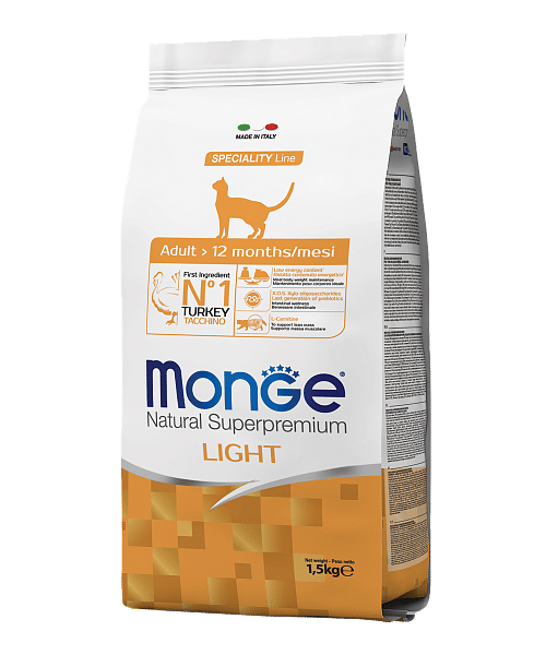 Monge Cat Speciality Light низкокалорийный сухой корм для кошек с индейкой купить в дискаунтере товаров для животных Крокодильчик