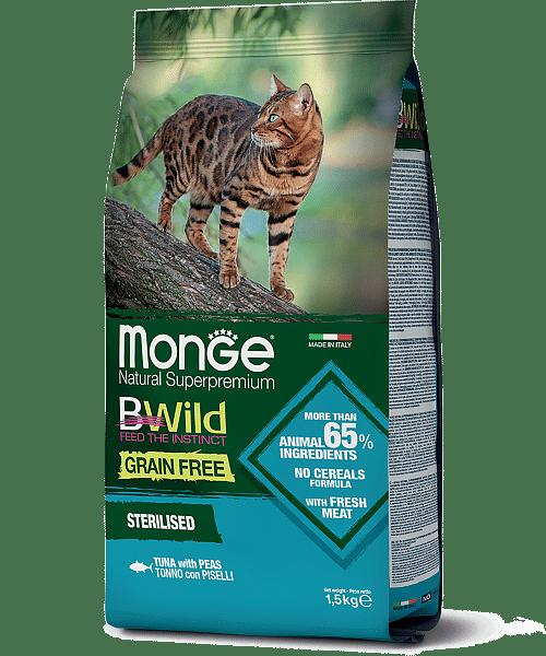 Monge BWild Cat Tonno сухой корм из тунца для стерилизованных кошек, 1,5 кг. купить в дискаунтере товаров для животных Крокодильчик