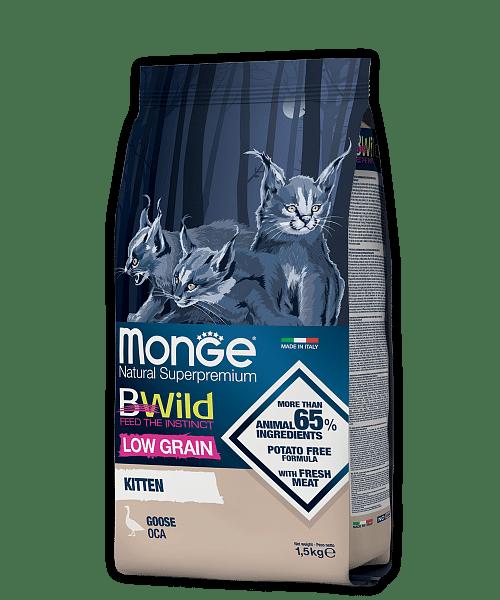 Monge BWild Cat Goose сухой корм из мяса гуся для котят, 1,5 кг. купить в дискаунтере товаров для животных Крокодильчик