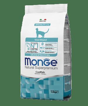 Monge Cat Monoprotein Sterilised Codfish сухой корм с треской для стерилизованных кошек купить в дискаунтере товаров для животных Крокодильчик