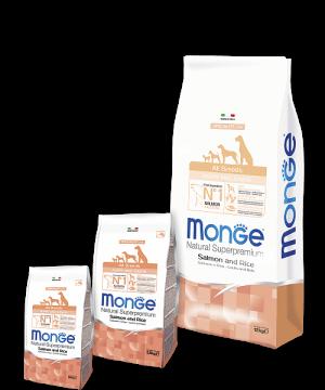 Monge Dog Speciality Line ALL BREEDS PUPPY & JUNIOR SALMONE AND RICE купить в дискаунтере товаров для животных Крокодильчик в Москве