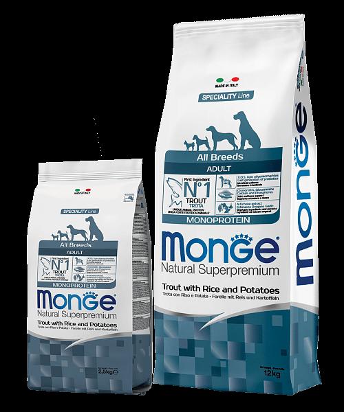 Monge Dog Speciality Line All Breeds Adult Monoprotein Trout купить в дискаунтере товаров для животных Крокодильчик в Москве