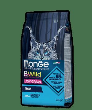 Monge BWild Cat Anchovies сухой корм с анчоусами для взрослых кошек, 1,5 кг. купить в дискаунтере товаров для животных Крокодильчик