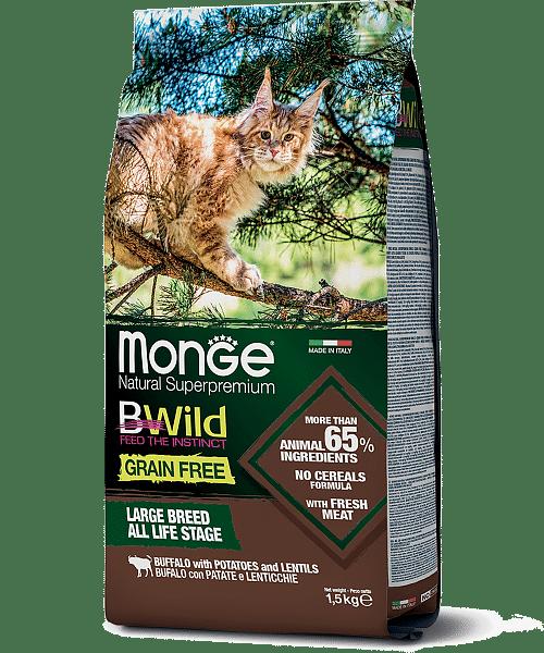 Monge BWild Cat Buffalo сухой корм с мясом буйвола для крупных кошек, 1,5 кг. купить в дискаунтере товаров для животных Крокодильчик