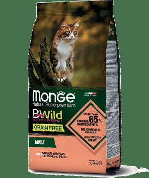 Monge BWild Cat Salmone сухой корм с лососем для взрослых кошек, 1,5 кг. купить в дискаунтере товаров для животных Крокодильчик