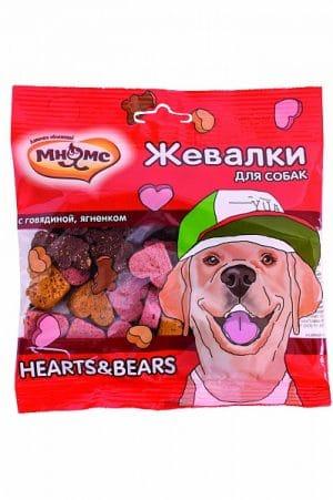 Мнямс жевалки HEARTS&BEARS для собак с говядиной и ягненком купить в дискаунтере товаров для животных Крокодильчик