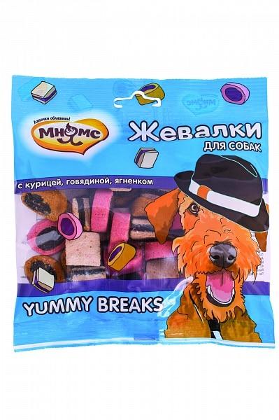 Мнямс жевалки YUMMY BREAKS для собак с курицей, говядиной и ягненком купить в дискаунтере товаров для животных Крокодильчик