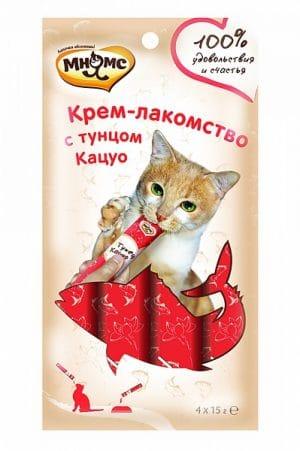 Мнямс крем-лакомство для кошек с тунцом Кацуо купить в дискаунтере товаров для животных Крокодильчик