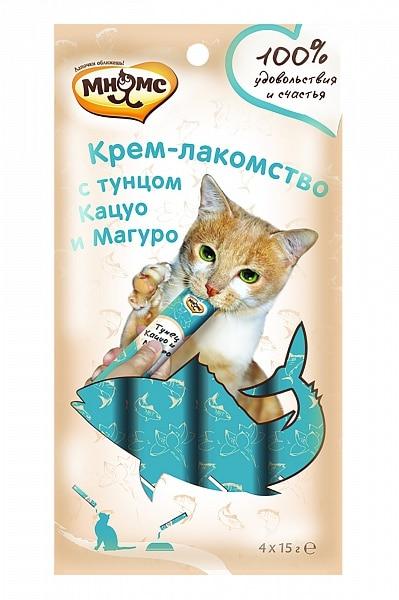 Мнямс крем-лакомство для кошек с тунцом Кацуо и Магуро купить в дискаунтере товаров для животных Крокодильчик