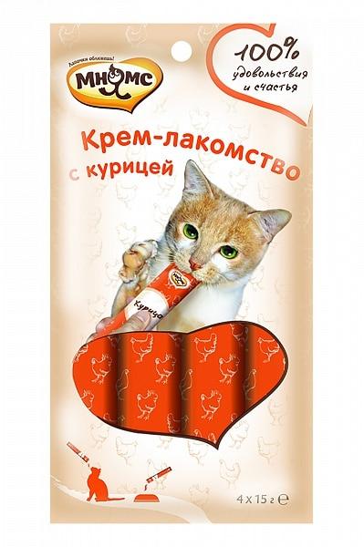 Мнямс крем-лакомство для кошек с курицей купить в дискаунтере товаров для животных Крокодильчик