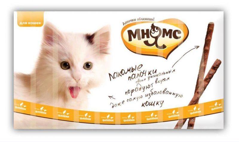 Мнямс лакомые палочки для кошек с цыпленком и печенью, 10 шт. купить в дискаунтере товаров для животных Крокодильчик