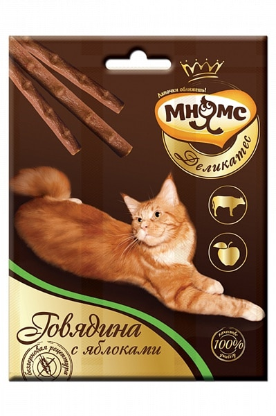 Мнямс Деликатес лакомые палочки для кошек с говядиной и яблоками, 3 шт купить в дискаунтере товаров для животных Крокодильчик