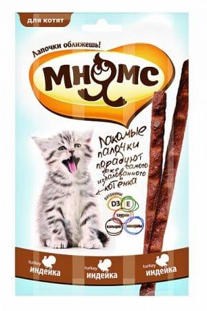 Мнямс лакомые палочки для котят с индейкой, 3 шт. купить в дискаунтере товаров для животных Крокодильчик