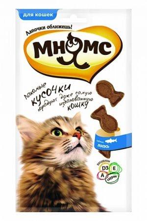 Мнямс лакомые кусочки для кошек с лососем купить в дискаунтере товаров для животных Крокодильчик