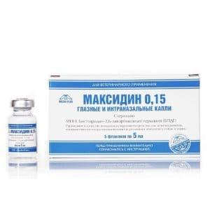 Максидин 0,15 капли глазные и интраназальные 5 мл купить в дискаунтере товаров для животных Крокодильчик
